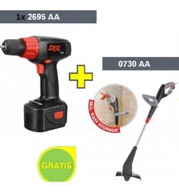 Akumulatorska bušilica Skil 2695 AA + Električni trimer za travu Skil 0730AA