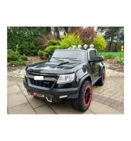 Automobil na akumulator Chevrolet sa kožnim sedištem i mekim gumama - Crni