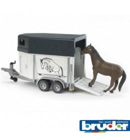 Bruder prikolica za transport konja i konj