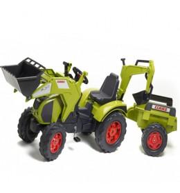 Dečji traktor na pedale sa rovokopačem i utovarivačem Claas