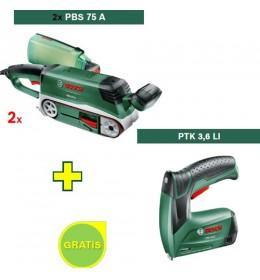 Tračna brusilica Bosch PBS 75 A 2 kom + Aku heftalica PTK 3,6 LI