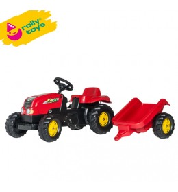 Traktor na pedale sa prikolicom RollyrollyKid-X crveni